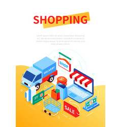 online shopping and delivery - modern colorful vector image