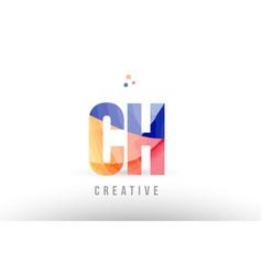 Orange blue alphabet letter ch c h logo icon vector