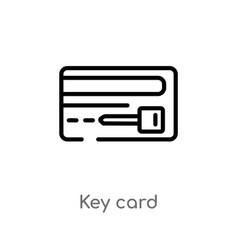 outline key card icon isolated black simple line vector image
