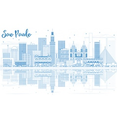 Outline Sao Paulo Skyline with Blue Buildings vector