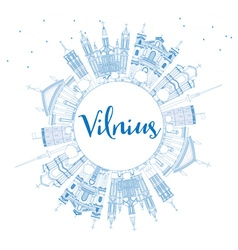 Outline Vilnius Skyline with Blue Landmarks vector image