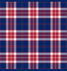 patriotic tartan white blue red seamless vector image