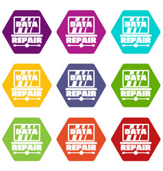 pc data repair icons set 9 vector image