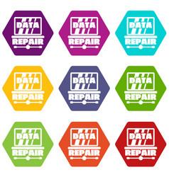 Pc data repair icons set 9 vector