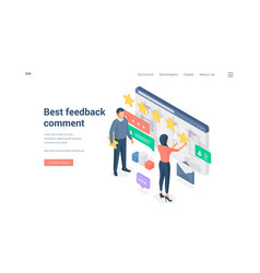 People leaving best feedback comment isometric vector