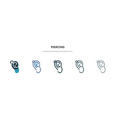 Piercing icon in different style two colored and vector
