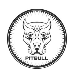 Pit bull terrier label Dod face vector