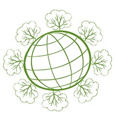 Planet earth surrounded by trees vector