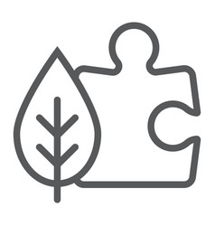 puzzle with leaf line icon ecology and energy vector image