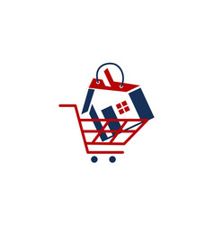 Real estate shopping cart vector