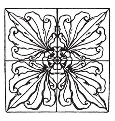 renaissance square panel is a big dark leaves vector image