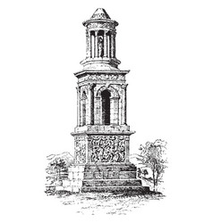 Roman mausoleum at st remy in france vintage vector