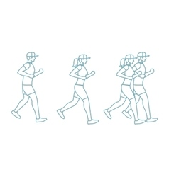 Run man and woman line icons vector image vector image