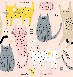 seamless childish pattern with cute hand drawn vector image
