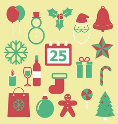 set christmas icons on yellow background vector image