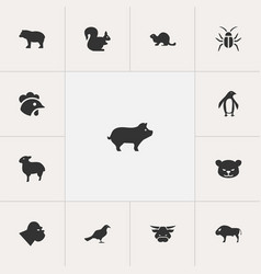 Set of 13 editable animal icons includes symbols vector