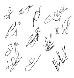 Signatures set hand drawn vector