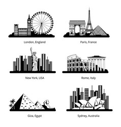 silhouette set with panoramas famous vector image