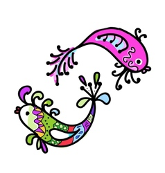 Sketch of funny fishes for your design vector image
