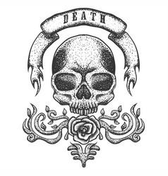 skull vintage ribbon vector image