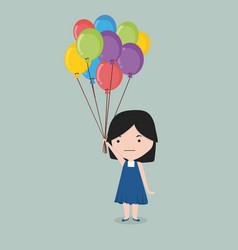 small girl holding balloon vector image