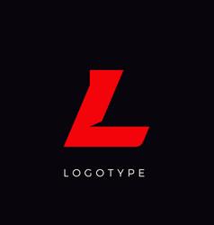 Speed letter l red race monogram logo italic vector