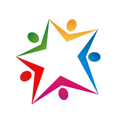 Star shape and people team group icon vector