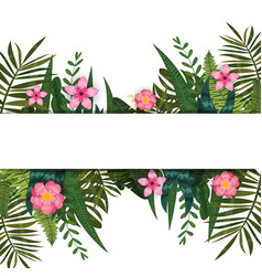 summer trendy tropical leaves and flowers design vector image