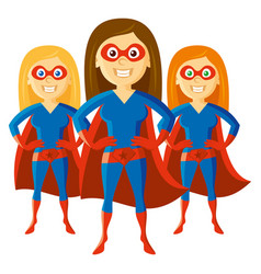 Superhero woman supermom set cartoon character vector