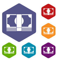 Swiss franc banknote icons set vector