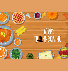 thanksgiving greeting card dinner table vector image
