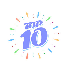 Top 10 blue word inside fireworks on white vector