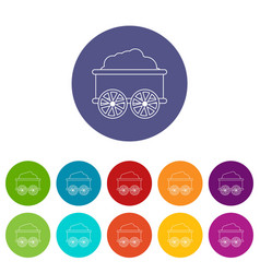 Train wagon icons set color vector