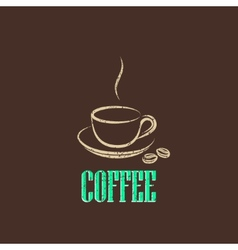 vintage with coffee cup vector image