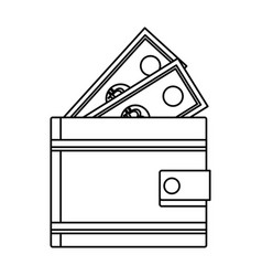 wallet with money cartoon in black and white vector image