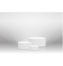 white 3d podium mockup in cylinder shape empty vector image