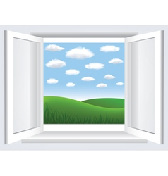 window with meadow view vector image