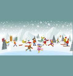 Winter landscape and winter activities vector