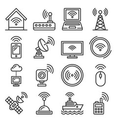 wireless and communications icons set on white vector image