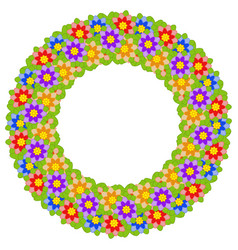 Wreath of multicolored flowers on a white vector
