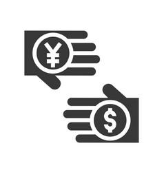 Yen and dollar in hand exchange money currency vector