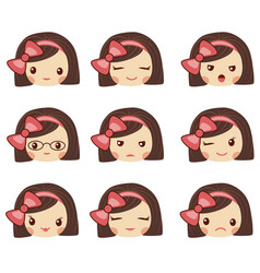 cute girl face with red bow showing the different vector image vector image