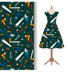 dress fabric pattern with construction tools vector image vector image
