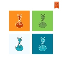 Fox Single Flat Autumn Icon vector image vector image