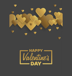 golden greeting card happy valentines day vector image vector image