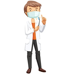 Male dentist holding tool vector image