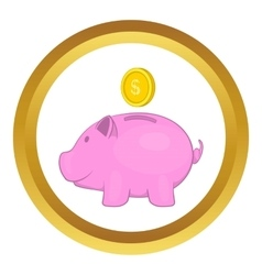 Pink pig money box icon vector image vector image