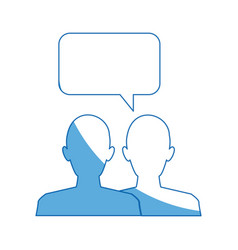 Silhouette people speech bubble chat dialog vector