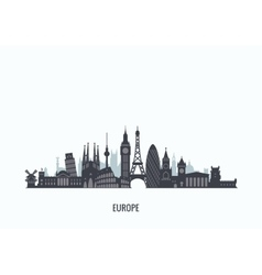 Europe skyline silhouette vector image
