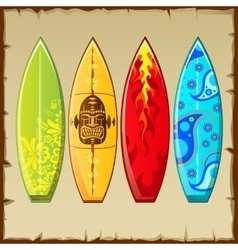 Four surfboards with different pattern vector image vector image